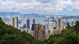 A city view of Hong Kong skyline.