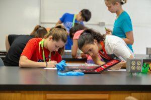 High school students participating in STEM Duke summer programs.