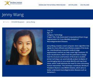 Jenny Wang RSI '14 won a $10,000 Davidson Fellows Scholarship in Technology