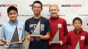Students receiving their awards at Mathcounts
